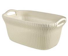 Curver 03677-X64-00 Knit Panier à linge Plastique Blanc 59,5 x 38,5 x 27 cm 40 L