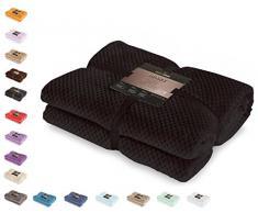DecoKing Couette en Microfibre Couverture Polaire Plaid Couvre-lit Polaire Doux de Style scandinave Henry, Microfibre Noir 170x210 cm