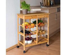 Relaxdays 10019161 Desserte de cuisine JAMES XXL meuble dappoint îlot chariot de cuisine à roulettes en bambou paniers amovibles HxlxP : 80 x 67 x 37 cm, nature