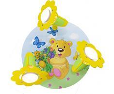 Elobra-leuchten plafonnier pour enfant lampe plafonnier pour chambre denfant motif ourson en bois/vert 131251 jaune