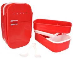 MUSTARD Bento Box I Lunch Box I Boîte à déjeuner avec 3 compartiments en forme damplificateur I Boîte de conservation alimentaire - Frigo Box Rouge