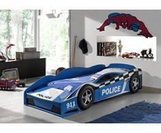 Vipack Toddler LIT Voiture Police 70x140 Bleu, MDF, Piscine