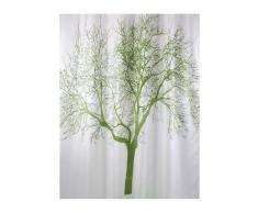 Bisk 180 x 200 cm Rideau de douche Blanc avec motif Arbre Vert