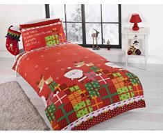Christmas Presents Cadeaux de Noël pour Enfant Motif Père Noël Junior Parure de lit avec Housse de Couette et taie doreiller Lit Enfant de lit, Multicolore