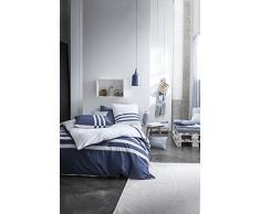 TODAY 233082 Parure de Couette, Coton, Blanc/Bleu, 240 x 220 cm