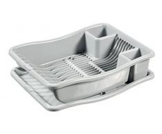 CURVER | Egouttoir à vaisselle + plateau PM - 18 assiettes, Gris, Sink Top, 29x10,5x39 cm