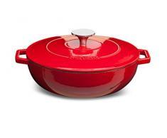CYRIL LIGNAC 148-013 - Sauteuse Ronde - Idéal pour Mijoter vos Préparations - Compatible tous Feux dont lInduction - Passe au Lave-vaisselle - 2,2 Litres - 25 cm - Rouge