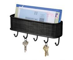 iDesign corbeille à courrier, petit rangement mural en métal et plastique à 5 crochets pour clés ou laisses, module de rangement pour courrier et post-its, noir