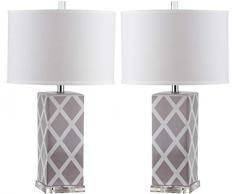 Safavieh Keira Lampe de Table (Lot de 2), Céramique, 7 Gris 38 x 38 x 68,58 cm