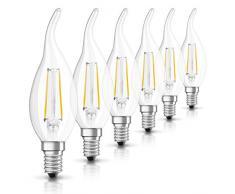OSRAM Ampoule LED Filament, Forme flamme, Culot E14, 2W Equivalent 23W, 230 V, claire, Blanc Chaud 2700K, Lot de 6 pièces