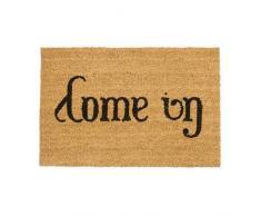 Relaxdays Paillasson en fibres de coco tapis porte entrée Come In/ Go Away double sens dessous antidérapant en caoutchouc PVC L x l 60 x 40 cm, nature