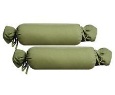 biberna 0077144Housse de Coussin de traversin en Jersey 100% Coton, Lot de 2, 15x 40cm Épicéa, 27x 18x 2cm