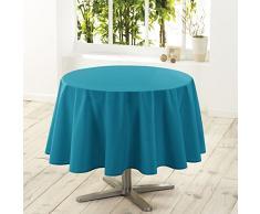 Douceur dIntérieur Essentiel Nappe Polyester Uni Bleu 180 x 180 x 180 cm