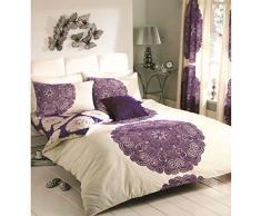 Just Contempo Parure de lit réversible Baroque Motif Floral, Housse de Couette King Size, Aubergine (Crème Violet)