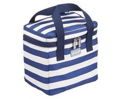 Kitchen Craft We Love Summer nautique Sac isotherme à rayures, Bleu marine/blanc, 4.9 litre