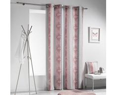 Douceur dIntérieur SERPENTINE Rideau à Œillets Polyester Rose 260 x 140 x 0,1 cm