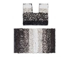 Relaxdays Tapis salle de bain WC douche baignoire lot de 2 tapis motifs paper shabby design 80 x 50 cm lavable, marron / beige