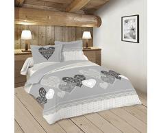 Lovely Casa Chaleur Housse de couette 260 x 240 cm avec 2 Taies doreiller 63 x 63 cm, Coton, Gris