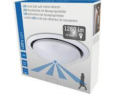 LEDs light 800503 Plafonnier LED avec détecteur de mouvement 15 W 1 200 lm Blanc chaud 3 000 K IP20
