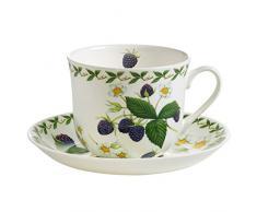 Maxwell & Williams pb8109Orchard Fruits Petit Déjeuner Tasse avec Soucoupe Mûre, boîte Cadeau, Porcelaine, Multicolore