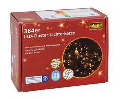 Idena 31807Lot Cluster Guirlande lumineuse 384LED pour intérieur et extérieur avec minuteur, plastique, vert/blanc chaud