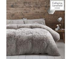 Catherine Lansfield Cuddly Parure pour Couette, Silver, King