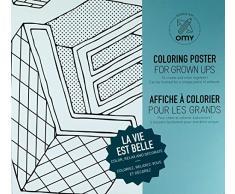 OMY Poster géant à colorier La vie est belle format encadrable (70 x 100 cm)