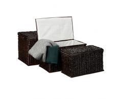 Relaxdays Malle lot de 3 en palmier tressé HlP: 39 x 60 x 375 cm capacité 71 L coffre de rangement empilable panier à linge coffret boîte couvercle intérieur tissu amovible aéré campagne brun choco