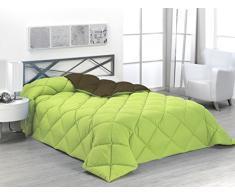 SABANALIA enbi 400-180R/N - Couette Bicolore 400 g Cama 135-220 x 270 Verde y Chocolate