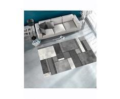 Un Amour de Tapis 29987 Brillance Géométrique Tapis de Salon Moderne Polypropylène Gris 120 x 170 cm