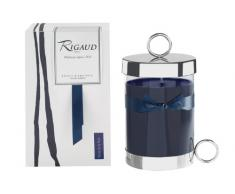 Rigaud Paris, Reine de La Nuit Bougie Dambiance Parfumee, Large Candle Modele Complet W/Metal Silver Snuffer and Metal Silver Base, Dark Blue, 5.Tall, 90 Hours, Made in France by