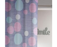 Douceur dIntérieur Rideau Oeillet Polyester Imprimé Atolls Rose 140 x 260 x 260 cm