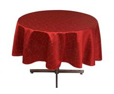 Soleil dOcre 815411 Fiesta Nappe Ronde Impression Argent Polyester Rouge 180 x 180 cm