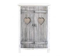 Rebecca Mobili RE4563 Buffet 2 Portes Shabby Chic Bois Blanc/Gris 78 x 51 x 31 cm
