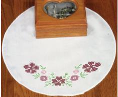 Fairway Napperon rond décoré de fleurs au point de croix 30,5cm