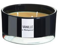 DEVINEAU 1611517 Bougie Vasque avec 3 Mèches Vanille de Madagascar Beige/Noir Laqué