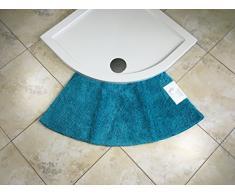 Cazsplash Petit Tapis de Douche Arrondi en Quart de Cercle, Microfibre, Bleu Sarcelle, Taille M