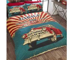 Just Contempo Rétro classique Bel Air Voiture Parure de lit avec housse de couette réversible imprimé drapeau USA Parure de lit Rouge/Bleu/Noir/crème, Polycoton, Red Blue Black Cream, King
