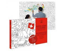 OMY Poster géant à colorier de la Suisse format encadrable (70 x 100 cm)