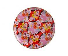 Maxwell Williams Assiette en porcelaine anglaise Motif floral cachemire Noir, Porcelaine, Rouge, 19 cm