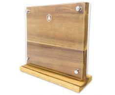 LAGUIOLE Bloc de Couteaux Empty Wooden & Glass Block-40268431-Acacia en Bois magnétique sans Couteaux, Bois véritable/Verre, Marron, L