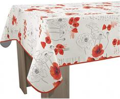 Le linge de Jules Nappe Anti-Taches Poppies Rouge - Taille : Rectangle 150x300 cm