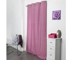 Douceur dIntérieur Crash Lineo Rideau avec Oeillets Jacquard Rayures Polyester Rose 140 x 260 x 260 cm