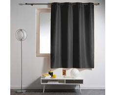 douceur dintérieur rideau a oeillets plastique 140x180 cm polyester essentiel noir