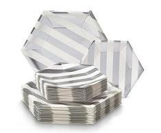 Silver Spoons 1881X12 Service DE Vaisselle DE FÊTE JETABLE 432 PCS Design hexagonal, Argent