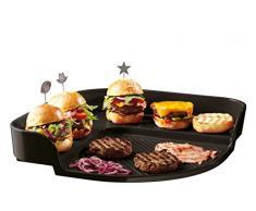 Emile Henry EH797548 Burger Party Plaque pour Barbecue Céramique Fusain 39 x 39 x 8 cm