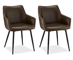 Furnhouse Moderne Scandinave Rétro Vintage Design Chaise de salle à manger Maria, Marron PU Cuir, Métal Noir Pieds, Lot de 2, 56x56x81
