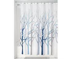 InterDesign Forest rideau douche, rideau baignoire design 183,0 cm x 183,0 cm en polyester, rideau de bain avec motif d'arbres, bleu/gris