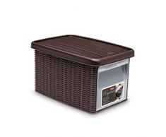 Stefanplast 2075892 Boîte de Rangement avec Porte Avant Elegance 19x29x16cm en Moka, Plastique