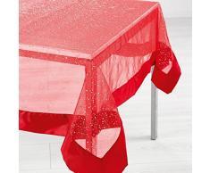 LHarmonie du décor Nappe Organza Imprimé + Satin Festille Polyester Rouge 240 x 140 cm